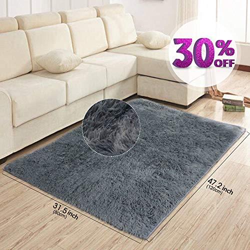 AziPro Carpettes pour tapis gris moderne de salon 47.2'x 31.5' (120x 80cm)