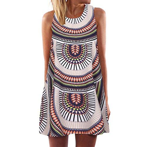 iYmitz Damen Sommer Vintage Boho Ärmelloses Sommerstrand Gedruckt Kurzes T-Shirt Minikleid Blumenkleid Trägerlose Tops(Mehrfarbig,EU-42/CN-XL)