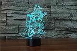Luce notturna 3D Illuminazione Vigile del fuoco Lampada da tavolo Decor camera da letto Sensore di tocco USB 7 Cambio colore per bambini Regalo per bambini Pompiere Led Touch Switch