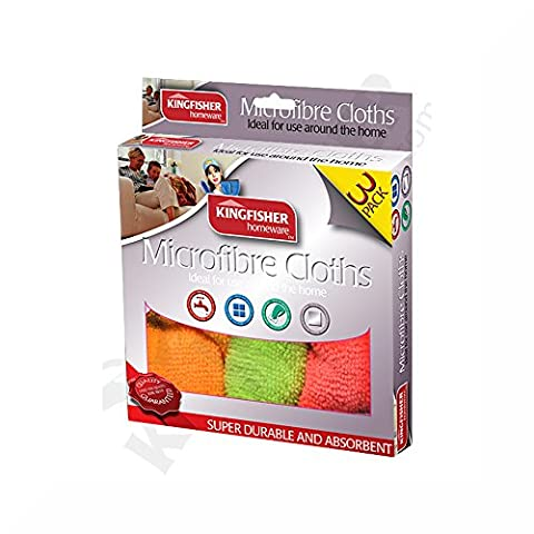Kingfisher 2 Packs of 3 microfibre cloths