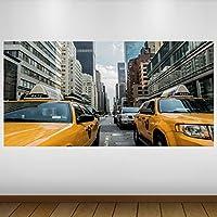 EXTRA GRANDE Los taxis de la ciudad de Nueva York amarillo de vinilo Póster - Mural Decoración - etiqueta de la pared -140cm x 70cm