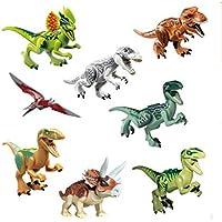 SYOO Bloques de Figuras de Dinosaurios de Juguete Conjunto, Dinos Minifiguras de Construcción con Cabeza Móvil Boca Manos pies, 8 x Normal