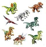 CHSYOO 8 x Jouet Dinosaure Chiffres Blocs Ensemble, avec tête Mobile Pieds Mains Bouche, Cadeau Jouet pour Enfants Anniversaire Parti