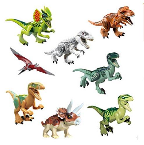 CHSYOO 8 x Klein Kindersicher Spielzeug Jurassic Welt Dinosaurier Blöcke Set, Kopf, Mund, Hände, Füße sind beweglich, Mini ungiftig Dino Figuren Geschenk Dekoration für Kinder Geburtstag Party
