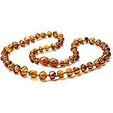 Bernstein Halskette–PREMIUM Authentic zertifiziert Baltischer Bernstein Perlen/extra Safe Hypoallergen Schließe/doppelt geknotetem poliert Bernstein Perlen Cute/Charming cognac Schmuck/33cm