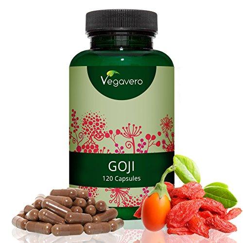 GOJI Beeren Extrakt Vegavero | 120 hochdosierte Kapseln (10:1 Extrakt) | 5.000mg Goji Beeren pro Tagesdosis (1 Kapsel) | 4 Monatsvorrat | Vegan und OHNE Zusatzstoffe
