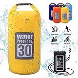 Dry Bag, 5L / 10L / 15L / 20L wasserdichte Tasche / Wasserdichter Packsack / Packsack Wasserdicht / Trockensack, Wasserdichte Beutel mit Wasserdichter Handybeutel und lang Verstellbarer Schultergurt, Für Ruder- und Paddeltouren / Boot und Kajak/ Rafting Angeln / Camping und Snowboarden/ ideal zum Speichern von Mobiltelefonen/ Schuhe Super Wasserdicht (Gelb, 30L)