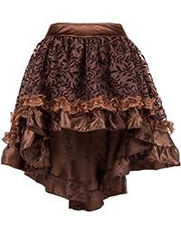 7d769b38a8 ZAMME Faldas góticas ribeteadas de tul marrón de las mujeres para el corsé  ...