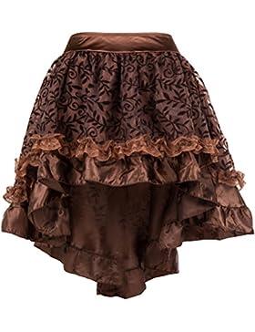 ZAMME Faldas góticas ribeteadas de tul marrón de las mujeres para el corsé que empareja