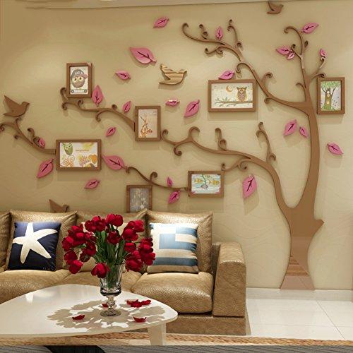 Memoria 3d árbol acrílico tridimensional pegatinas,Auta-adhesivo Impermeable Arte mural de papel pintado -D 110*83inch