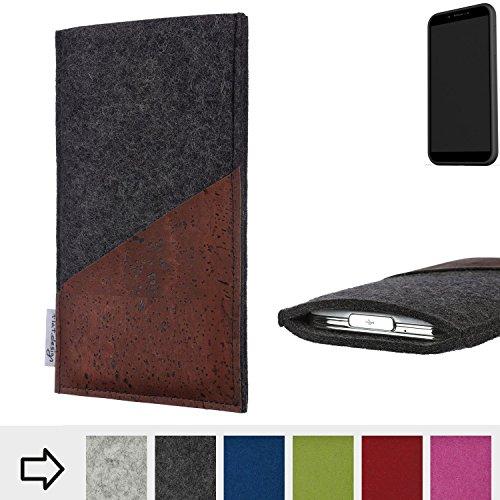 flat.design Handy Hülle Evora für Shift Shift6mq handgefertigte Handytasche Kork Filz Tasche Case fair dunkelgrau