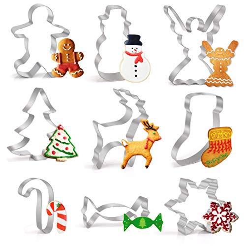 Joyoldelf Ausstechformen Weihnachten Edelstahl Ausstecher Set für Fondant Sandwiches Brot Plätzchen Halloween Tortendekorationen, 9 Stück (Für Spaß, Kinder Halloween-desserts Einfache)