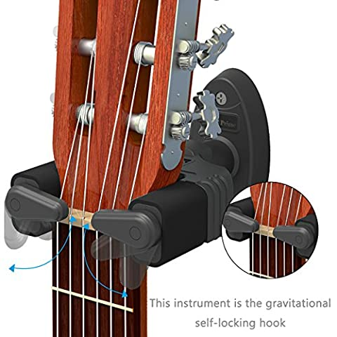 Guitar Wall Mount Hanger, Auto Lock Design, Fits All Size Acoustic Electronic Guitar Bass plastic (Chitarre e Bassi Chitarre)