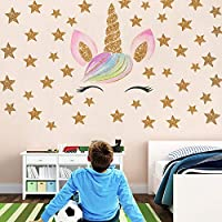 DrafTor Unicorn Wall Stickers, Fantasy Girls Bedroom Wall Decor Wall Decals Unicorn Cute and Removable Wall Decals Nursery Decal