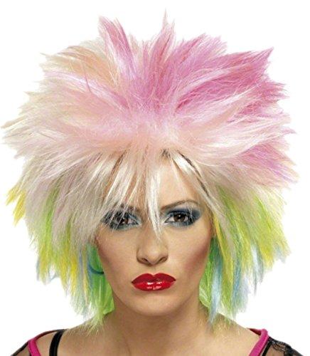 Fancy Ole - Damen Frauen Perücke Kurzhaar Punk Bunt, Blond Bunt Neon (Neon Grüne Haare)