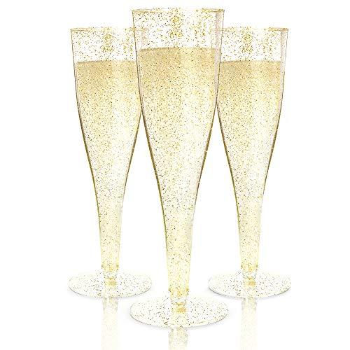 Einweg-Champagnergläser, goldfarben, glitzernd, 100 Stück Weingläser aus Hartplastik, für Partys und Veranstaltungen, langlebige und wiederverwendbare Cocktailbecher