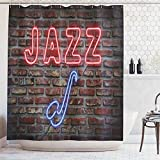 ABAKUHAUS Musica Tenda da Doccia, L'Immagine Dell'Ampada Fluorescente Jazz con La Figura Sasofono su Un Parete, Stampa Personalızzato, 175 x 200 cm, Blu