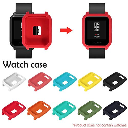 Coogel Watch Bumper case Cover Shell Protective Anti-Scratch Replacement Frame Screen Protector smartwatch smart Slim Colorful Skin-Friendly Soft pc for huami amazfit bip Youth (Red) -