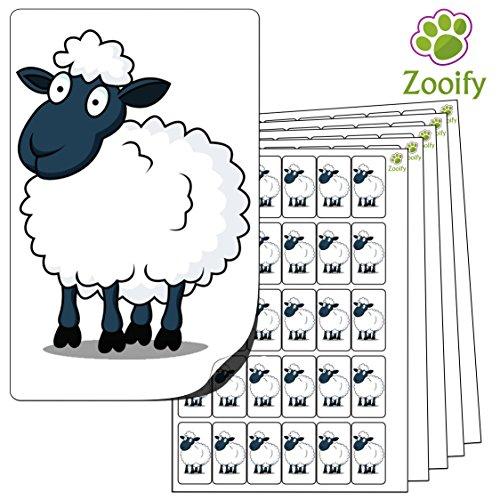 480 x Aufkleber - Schaf (38 x 21 mm). Hochwertige selbstklebende Etiketten mit Tiermotiv von Zooify.