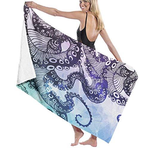 xcvgcxcvasda Serviette de bain, Octopus Watercolor Personalized Custom Women Men Quick Dry Lightweight Beach & Bath Blanket Great for Beach Trips, Pool, Swimming and Camping 31
