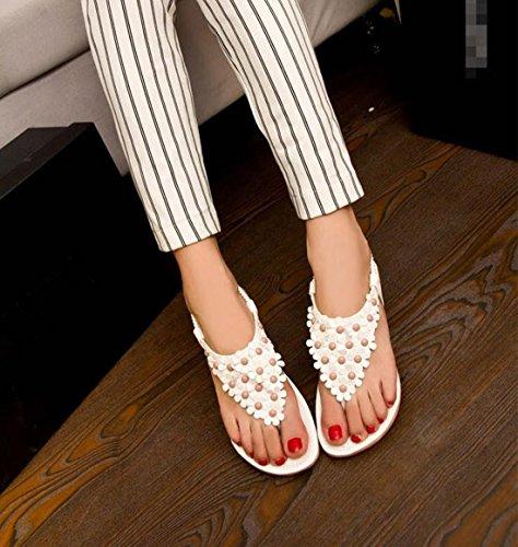 Encounter Femme Fille sandales Chaussure Été Bohémien plates Clip Toe Fleurs Anti-Dérapage Blanc