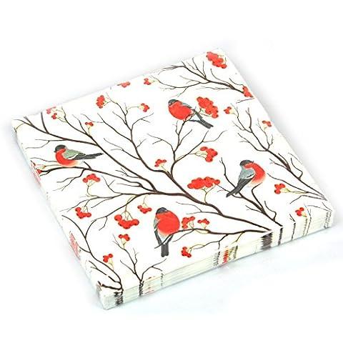 Robin Berry Serviettes en papier–Lot de 20(52161)