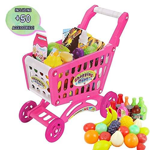 deAO Supermercado Puesto de Mercado - Tienda de Alimentos con Carrito de la Compra, Más de 70 Accesorios y Productos Incluidos