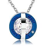 KnSam Collier Homme Acier Inoxydable Pendentif Fantaisie Double Cercles Incrusté Zircone Cubique Argent Bleu [Colliers Fantaisie]
