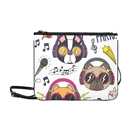 Happy Animal Dog Genießen Sie Musik Karton Muster Benutzerdefinierte hochwertige Nylon Slim Clutch Cross Body Bag Umhängetasche