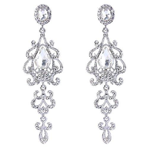 Clearine Damen Vintage Braut Kristall Elegant Tropfen Blatt Chandelier Dangle Ohrringe Klar Silber-Ton