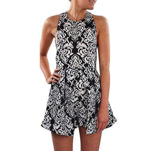 Oliviavane Sommer Frauen Jumpsuit Elegant Damen-gedruckte Clubwear Overall Reizvolle Schulterfrei Ärmellos Bodycon Party Spielanzug Breites Bein Hosen Party Bein