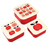 Lunch Box Vesperbox Frühstücksbox Essensbox Aufbewahrungsbox 3 er Set mit Deckel für das Pausenbrot und Snacks Motiv (Apfel)