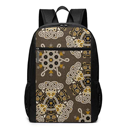 iking Damask 1b Fashion Student Outdoor Backpack 17in Teens Bookbags Travel Laptop College Business Daypack Schoolbag Book Bag for Men Women Black ()