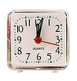 ZEZKT-Home Mini Mute Wecker Ziffern Analog Quarzwecker kein Ticken Doppelglockenwecker Alarm Tischuhr Geräuschlos Uhr Alarm Clock Mini Clock Küchenuhr Kunststoff (Weiß)