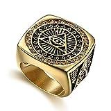 Wibbosad, anello da uomo con fascia di acciaio inox, anello in stile massonico, occhio del diavolo e Acciaio inossidabile, 67 (21.3), cod. Wibbosad-kl0228-12