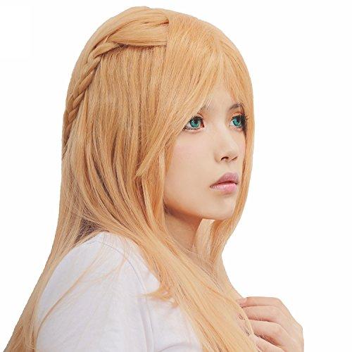 Yuuki Asuna Von Kostüm (Xcoser Sword Art Online Cosplay Kostüm Asuna Yuuki Perücke 100CM Lang Gerade Orange Haar Zubehör für)
