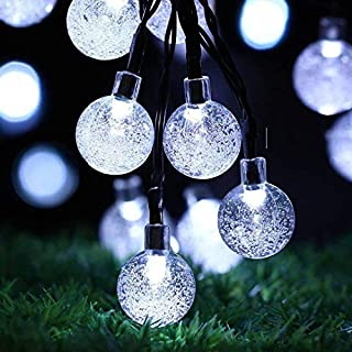 Solar String Lights Garden, 24 Ft 30 Waterproof Crystal Ball LED Fairy Lights Outdoor Solar Powered Lights, Decorative Lighting for Home, Garden, Party, Festival