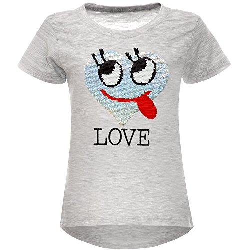 BEZLIT Mädchen Wende-Pailletten T-Shirt Herz Love Motiv 22605 Grau Größe 128