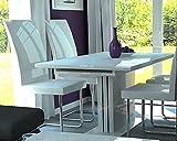 Esstisch Küchentisch 120x75cm weiss Hochglanz Säulentisch Tisch Esszimmertisch