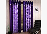 Homefab India Designer Flower Modern 2 Piece Eyelet Polyester Window Curtain Set - 6ft, Purple