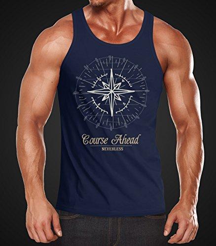 Neverless Herren Tanktop Kompass Windrose Navigator Segeln Muskelshirt Muscle Shirt Achselshirt Navy
