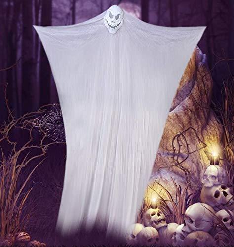 YC DOLL Animierte Elektro-Skelett Ghost Halloween Dekoration Mit Leuchtend Roten Augen Und Großen Sound-Effekt, Terroristische Spielzeuge, Schwarz, Weiß 3 M,White