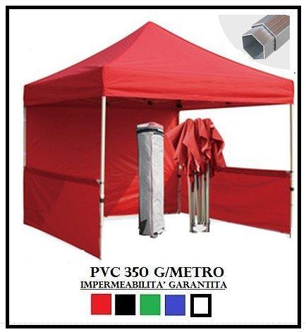 Gazebo pieghevole rosso alluminio esagonale 40mm 3x3 + 4 teli laterali pvc 350 g metro