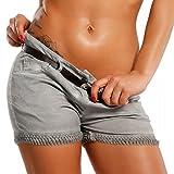 Damen Short Hotpants Strandshort , Farbe:Grau;Größe:42/XL