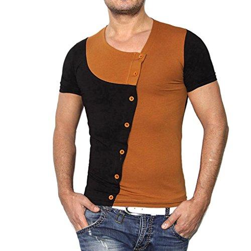 Koly_A maniche corte T-shirt girocollo-Men uomini di modo di estate che impiomba Pullover (L, Marrone)