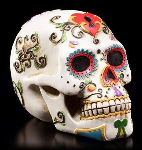 Weißer Totenkopf mit bunten Verzierungen   Tag der Toten   Figur Schädel Deko