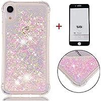 SHYHONG Kompatibel iPhone XR Hülle+5D gehärtetem Glas Dynamischer Treibsand Transparent TPU Silikon Handyhülle Vier Eckluftkissen Schutzhülle Anti-Shock Bumper Cover(SilberRosa)