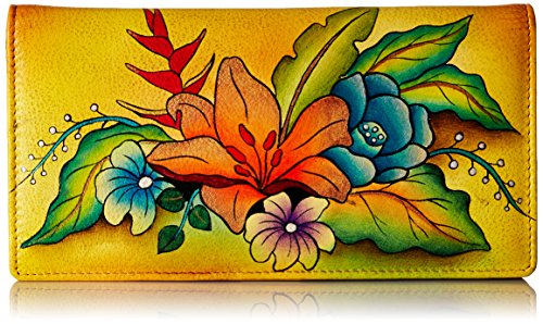 Anna by Anuschka Women's Handpainted Leather Ladies Wallet Snap Button Closure, Tropical Bouquet Yellow -
