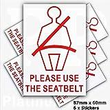 6x Externe Sicherheitsgurt Sicherheit stickers-red auf white-please tragen Ihr Sicherheitsgurt warning-car, Van, Truck, Bus, LKW, Taxi, Hackney Mini Cab Schild