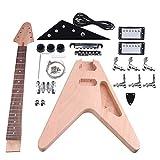 yibuy arce DIY triángulo guitarra eléctrica cuerpo cuello cerrado pastilla con clavijas de afinación 2T2V pomos Interruptor sin terminar Kit Traje Accesorios